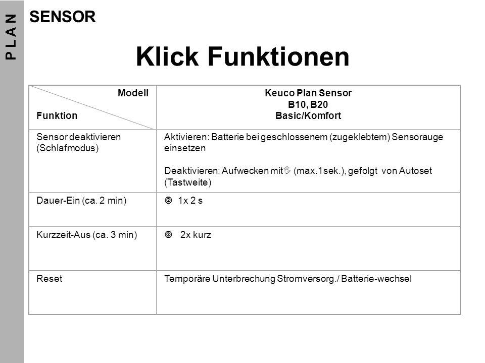 Klick Funktionen Modell Funktion Keuco Plan Sensor B10, B20 Basic/Komfort Sensor deaktivieren (Schlafmodus) Aktivieren: Batterie bei geschlossenem (zu