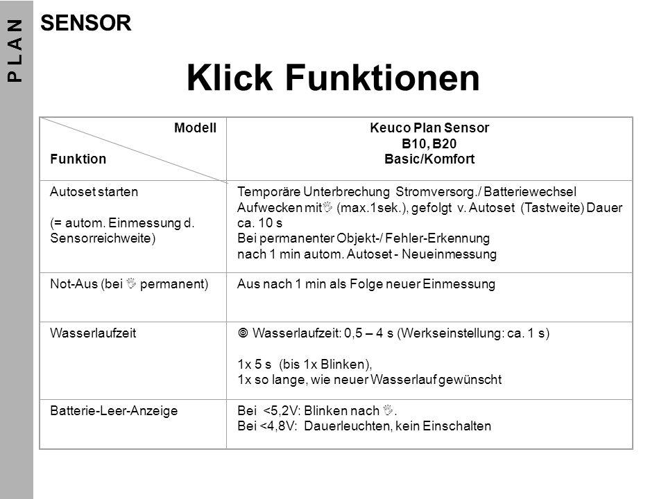 Klick Funktionen Modell Funktion Keuco Plan Sensor B10, B20 Basic/Komfort Autoset starten (= autom. Einmessung d. Sensorreichweite) Temporäre Unterbre