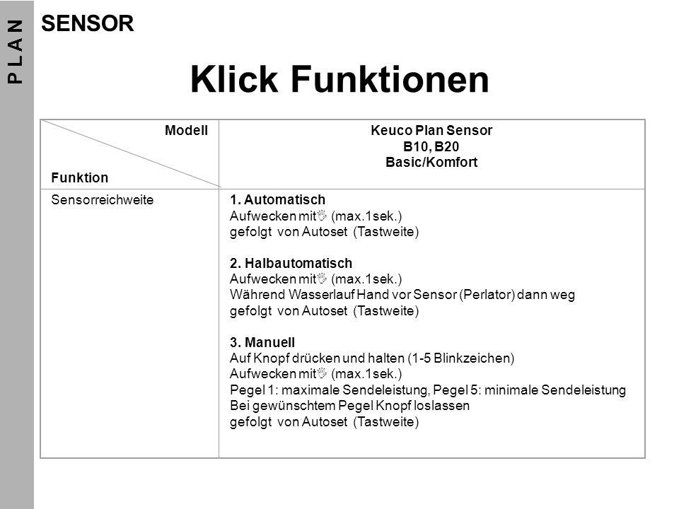 Klick Funktionen Modell Funktion Keuco Plan Sensor B10, B20 Basic/Komfort Sensorreichweite1. Automatisch Aufwecken mit (max.1sek.) gefolgt von Autoset