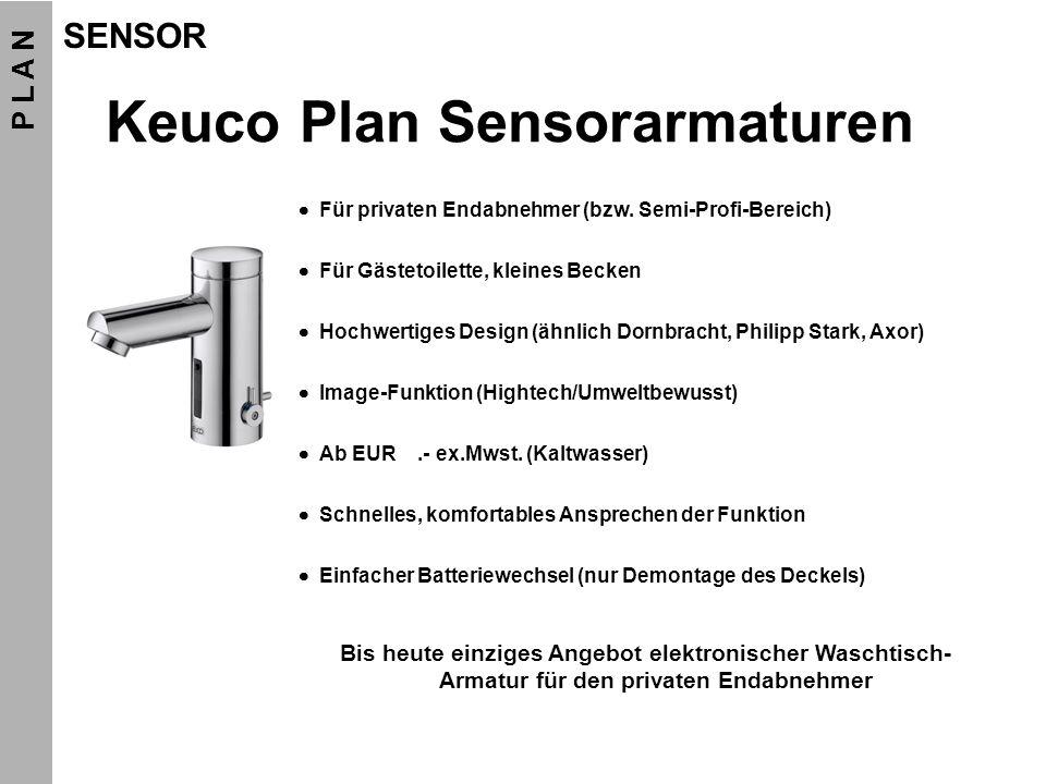 Klick Funktionen Modell Funktion Keuco Plan Sensor B10, B20 Basic/Komfort Sensor deaktivieren (Schlafmodus) Aktivieren: Batterie bei geschlossenem (zugeklebtem) Sensorauge einsetzen Deaktivieren: Aufwecken mit (max.1sek.), gefolgt von Autoset (Tastweite) Dauer-Ein (ca.
