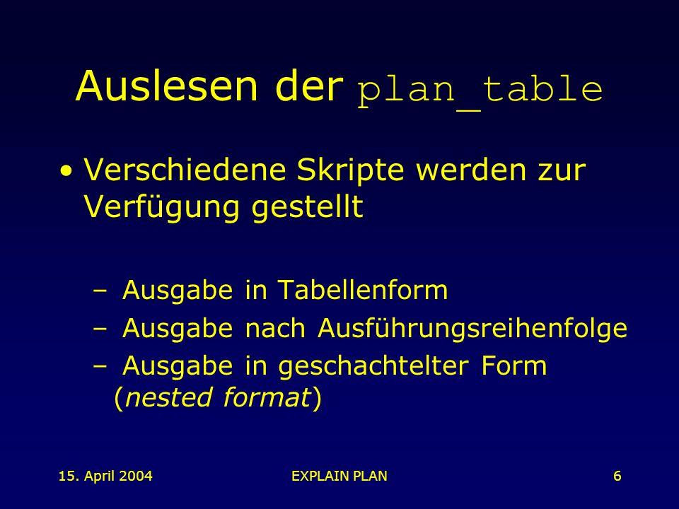 15. April 2004EXPLAIN PLAN6 Auslesen der plan_table Verschiedene Skripte werden zur Verfügung gestellt – Ausgabe in Tabellenform – Ausgabe nach Ausfüh