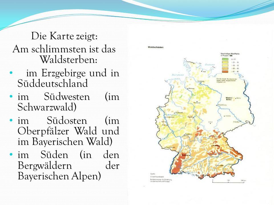 Die Karte zeigt: Am schlimmsten ist das Waldsterben: im Erzgebirge und in Süddeutschland im Südwesten (im Schwarzwald) im Südosten (im Oberpfälzer Wal