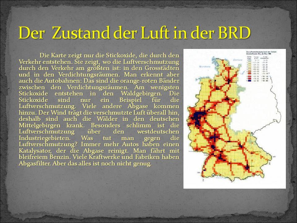 Die Karte zeigt nur die Stickoxide, die durch den Verkehr entstehen. Sie zeigt, wo die Luftverschmutzung durch den Verkehr am größten ist: in den Gros