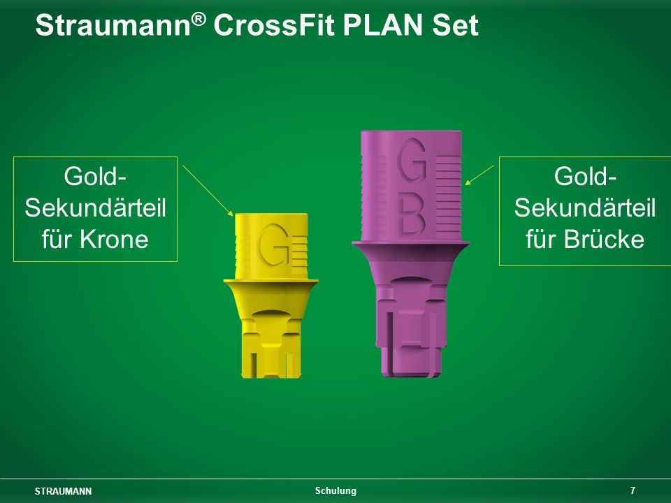 STRAUMANN 7 Schulung Straumann ® CrossFit PLAN Set Gold- Sekundärteil für Krone Gold- Sekundärteil für Brücke