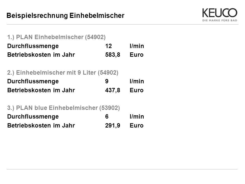 Beispielsrechnung Einhebelmischer 1.) PLAN Einhebelmischer (54902) Durchflussmenge 12l/min Betriebskosten im Jahr583,8Euro 2.) Einhebelmischer mit 9 L