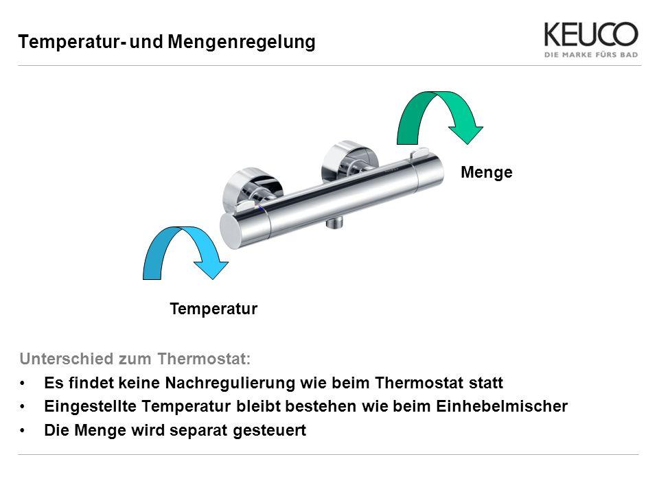 Temperatur- und Mengenregelung Unterschied zum Thermostat: Es findet keine Nachregulierung wie beim Thermostat statt Eingestellte Temperatur bleibt be