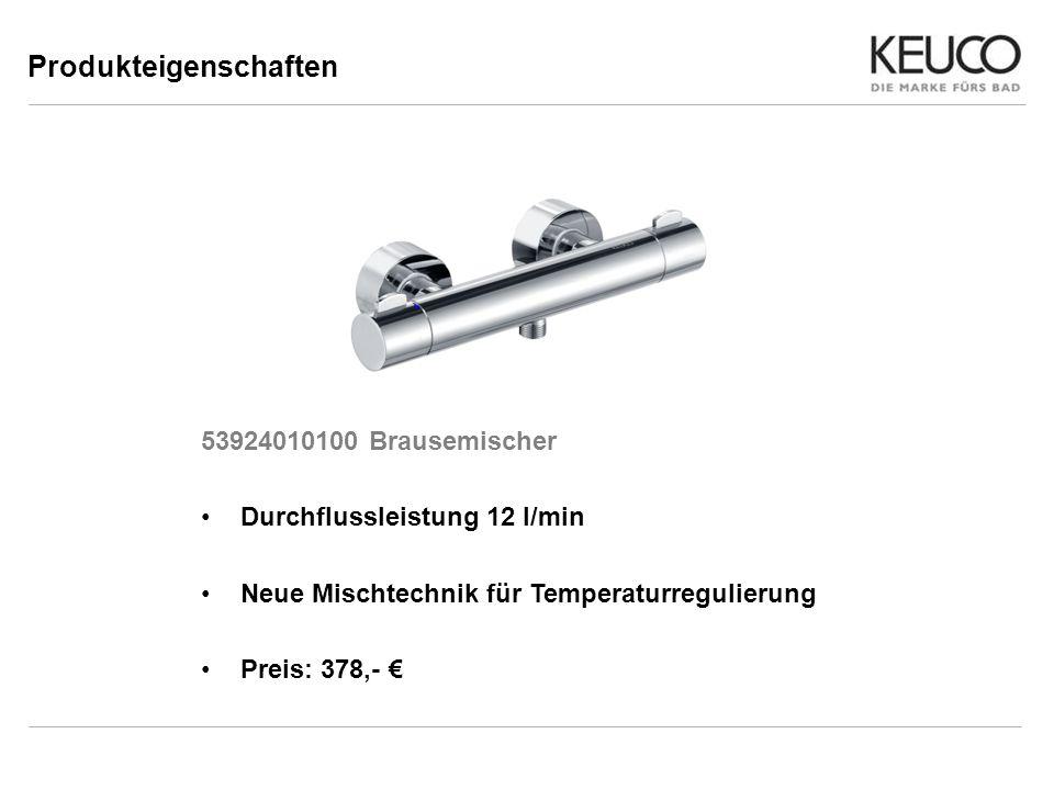 Produkteigenschaften 53924010100 Brausemischer Durchflussleistung 12 l/min Neue Mischtechnik für Temperaturregulierung Preis: 378,-