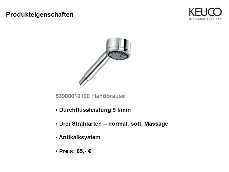 Produkteigenschaften 53980010100 Handbrause Durchflussleistung 9 l/min Drei Strahlarten – normal, soft, Massage Antikalksystem Preis: 65,-