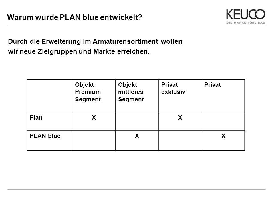 Warum wurde PLAN blue entwickelt? Durch die Erweiterung im Armaturensortiment wollen wir neue Zielgruppen und Märkte erreichen. Objekt Premium Segment