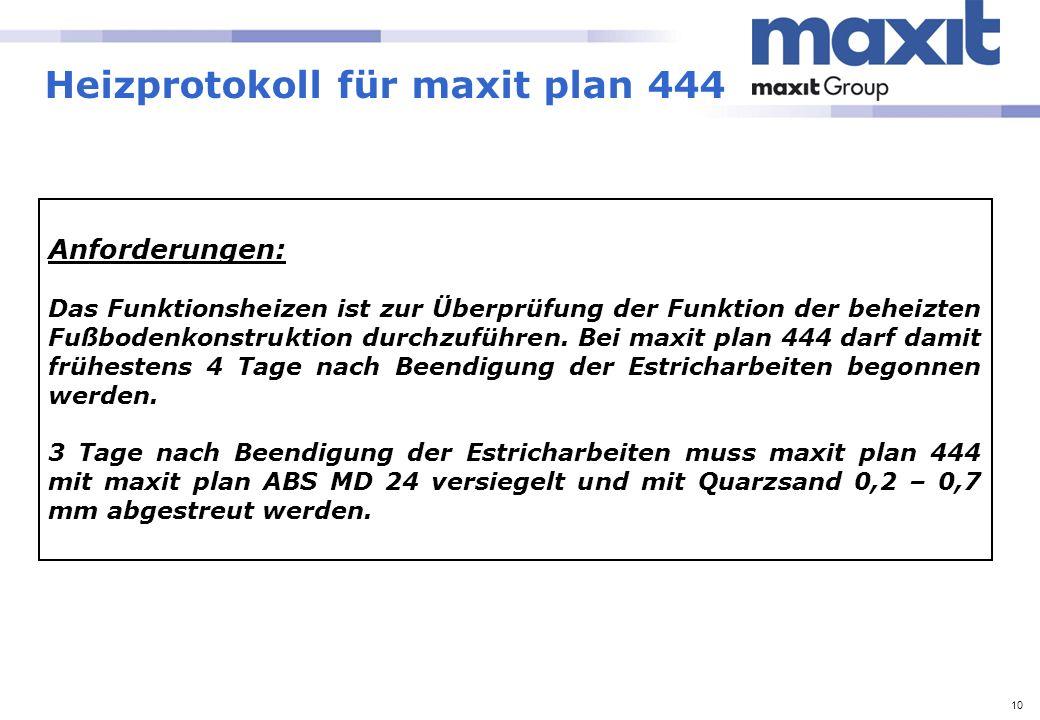 10 Heizprotokoll für maxit plan 444 Anforderungen: Das Funktionsheizen ist zur Überprüfung der Funktion der beheizten Fußbodenkonstruktion durchzuführ