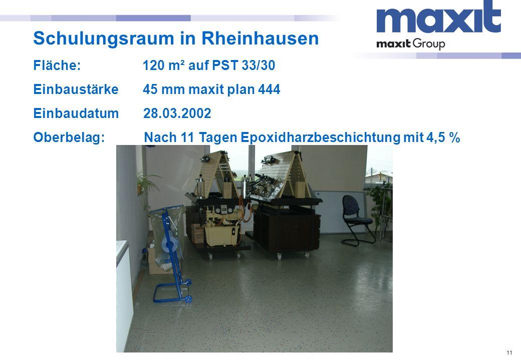 11 Schulungsraum in Rheinhausen Fläche: 120 m² auf PST 33/30 Einbaustärke 45 mm maxit plan 444 Einbaudatum 28.03.2002 Oberbelag: Nach 11 Tagen Epoxidh