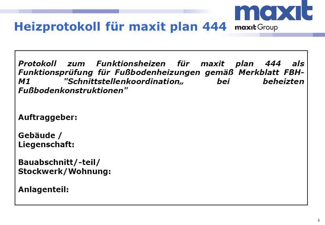 10 Heizprotokoll für maxit plan 444 Anforderungen: Das Funktionsheizen ist zur Überprüfung der Funktion der beheizten Fußbodenkonstruktion durchzuführen.