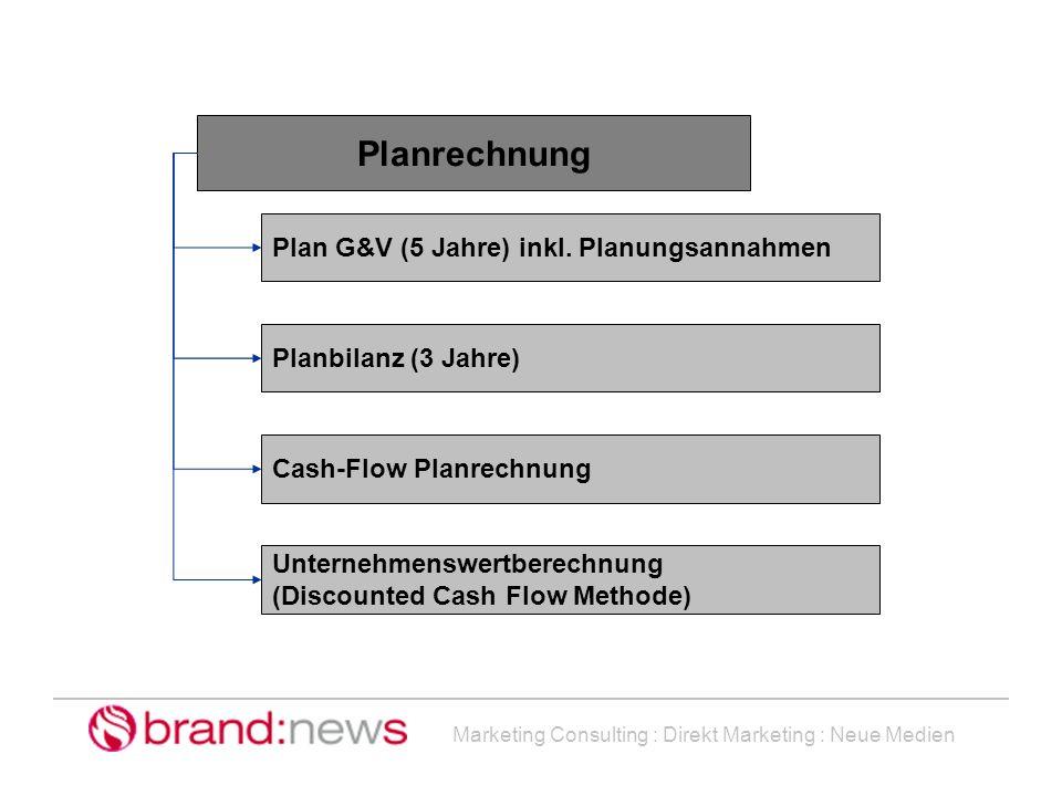 Marketing Consulting : Direkt Marketing : Neue Medien Planrechnung Plan G&V (5 Jahre) inkl. Planungsannahmen Planbilanz (3 Jahre) Cash-Flow Planrechnu