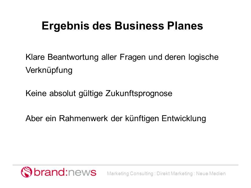 Marketing Consulting : Direkt Marketing : Neue Medien Ergebnis des Business Planes Klare Beantwortung aller Fragen und deren logische Verknüpfung Kein