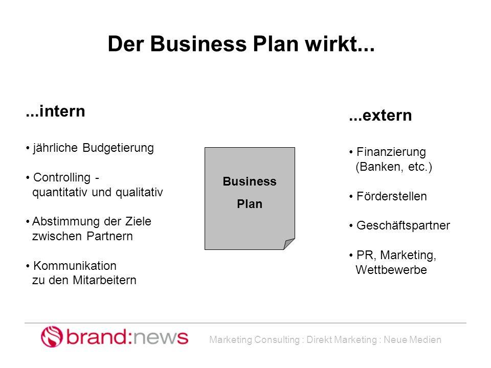 Marketing Consulting : Direkt Marketing : Neue Medien...intern jährliche Budgetierung Controlling - quantitativ und qualitativ Abstimmung der Ziele zw