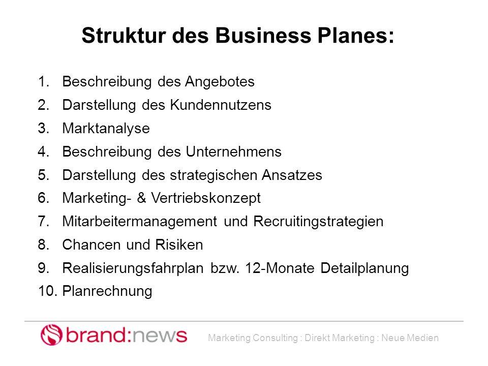 Marketing Consulting : Direkt Marketing : Neue Medien Struktur des Business Planes: 1.Beschreibung des Angebotes 2.Darstellung des Kundennutzens 3.Mar