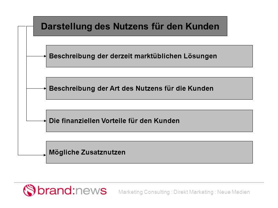 Marketing Consulting : Direkt Marketing : Neue Medien Darstellung des Nutzens für den Kunden Beschreibung der derzeit marktüblichen Lösungen Beschreib