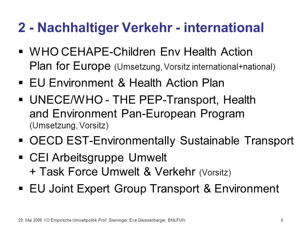 29. Mai 2006 VO Empirische Umweltpolitik Prof. Steininger, Eva Gleissenberger, BMLFUW17