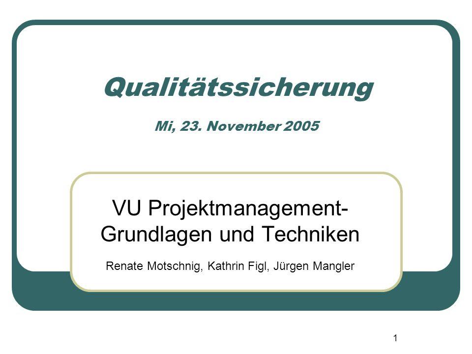 1 Qualitätssicherung Mi, 23. November 2005 VU Projektmanagement- Grundlagen und Techniken Renate Motschnig, Kathrin Figl, Jürgen Mangler