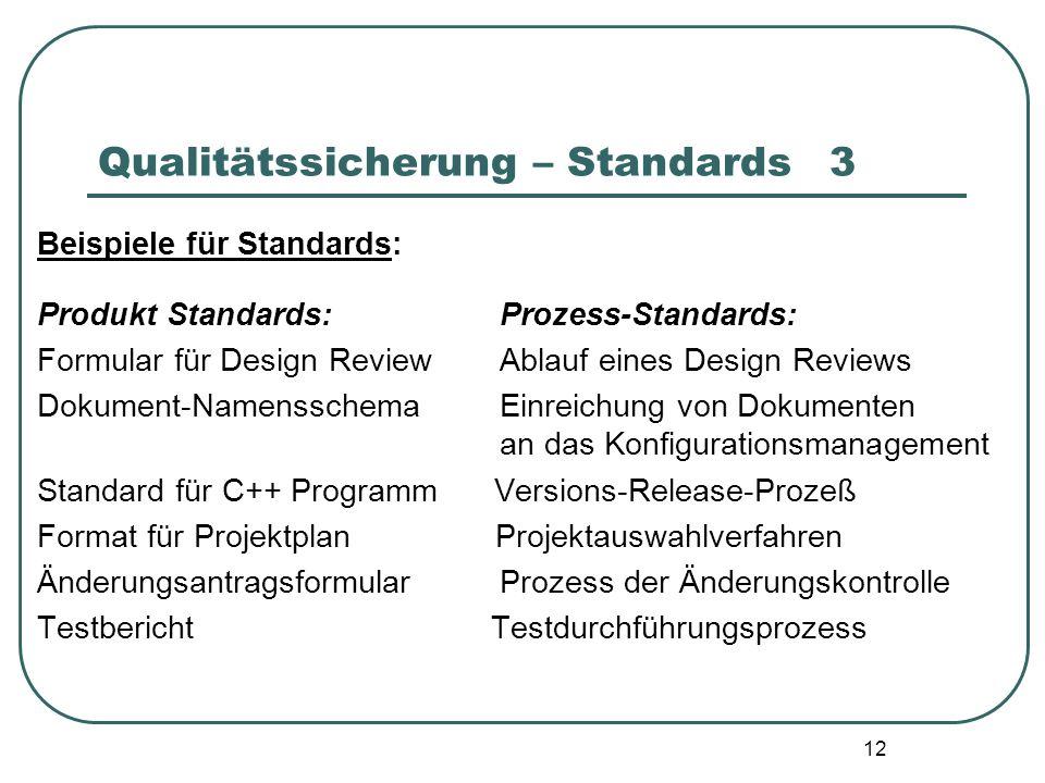 12 Qualitätssicherung – Standards3 Beispiele für Standards: Produkt Standards: Prozess-Standards: Formular für Design Review Ablauf eines Design Revie