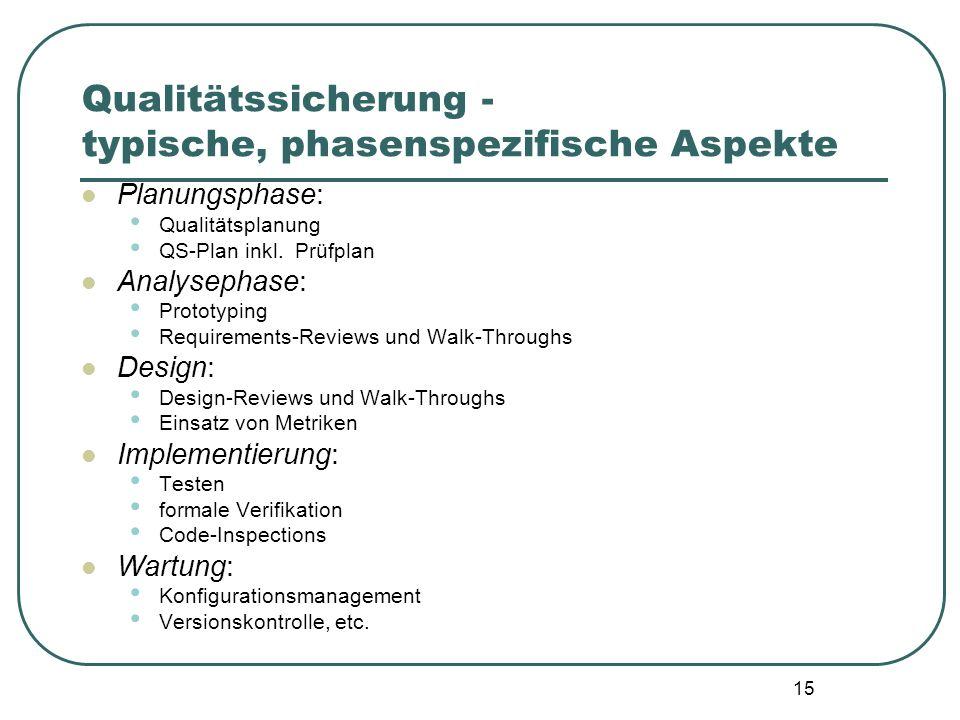 15 Qualitätssicherung - typische, phasenspezifische Aspekte Planungsphase: Qualitätsplanung QS-Plan inkl. Prüfplan Analysephase: Prototyping Requireme