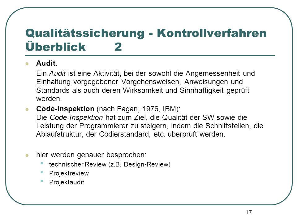 17 Qualitätssicherung - Kontrollverfahren Überblick2 Audit: Ein Audit ist eine Aktivität, bei der sowohl die Angemessenheit und Einhaltung vorgegebene