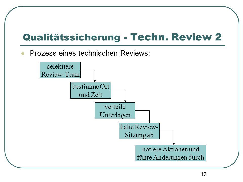 19 Qualitätssicherung - Techn. Review 2 Prozess eines technischen Reviews: selektiere Review-Team bestimme Ort und Zeit verteile Unterlagen halte Revi