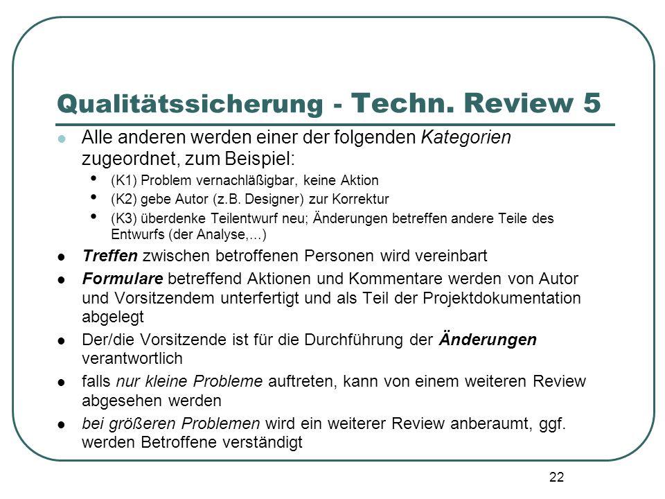 22 Qualitätssicherung - Techn. Review 5 Alle anderen werden einer der folgenden Kategorien zugeordnet, zum Beispiel: (K1) Problem vernachläßigbar, kei