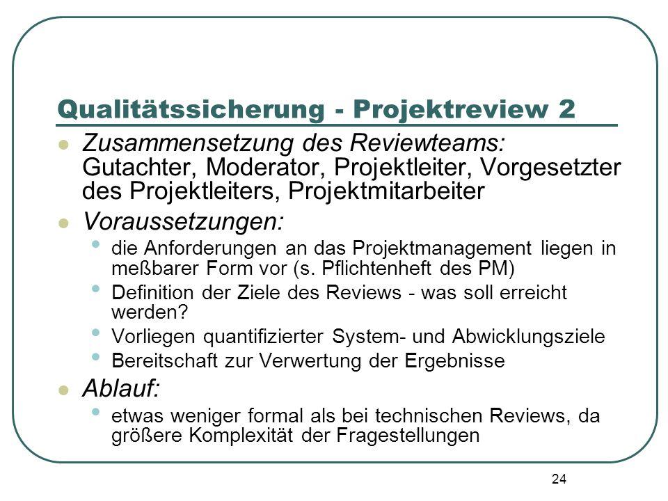 24 Qualitätssicherung - Projektreview 2 Zusammensetzung des Reviewteams: Gutachter, Moderator, Projektleiter, Vorgesetzter des Projektleiters, Projekt