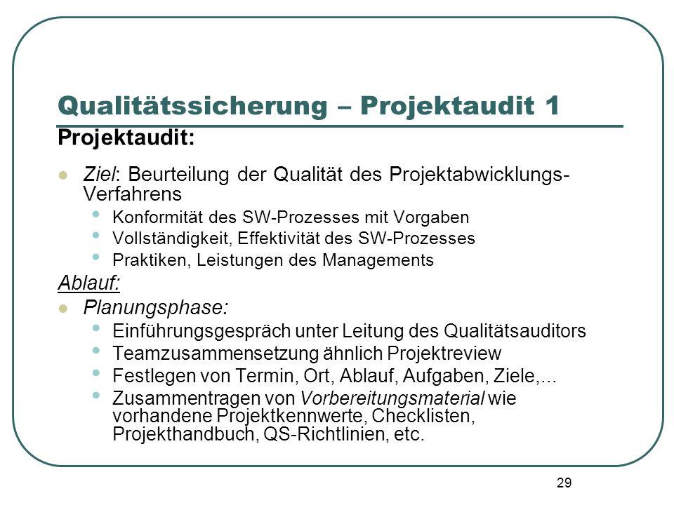 29 Qualitätssicherung – Projektaudit 1 Projektaudit: Ziel: Beurteilung der Qualität des Projektabwicklungs- Verfahrens Konformität des SW-Prozesses mi