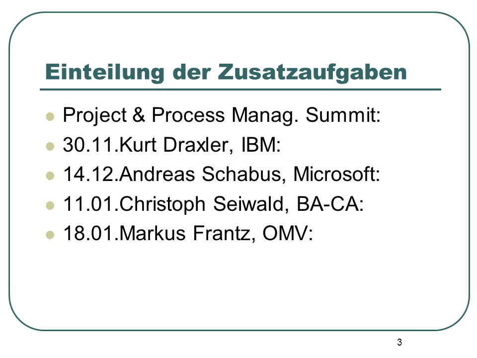 3 Einteilung der Zusatzaufgaben Project & Process Manag. Summit: 30.11.Kurt Draxler, IBM: 14.12.Andreas Schabus, Microsoft: 11.01.Christoph Seiwald, B