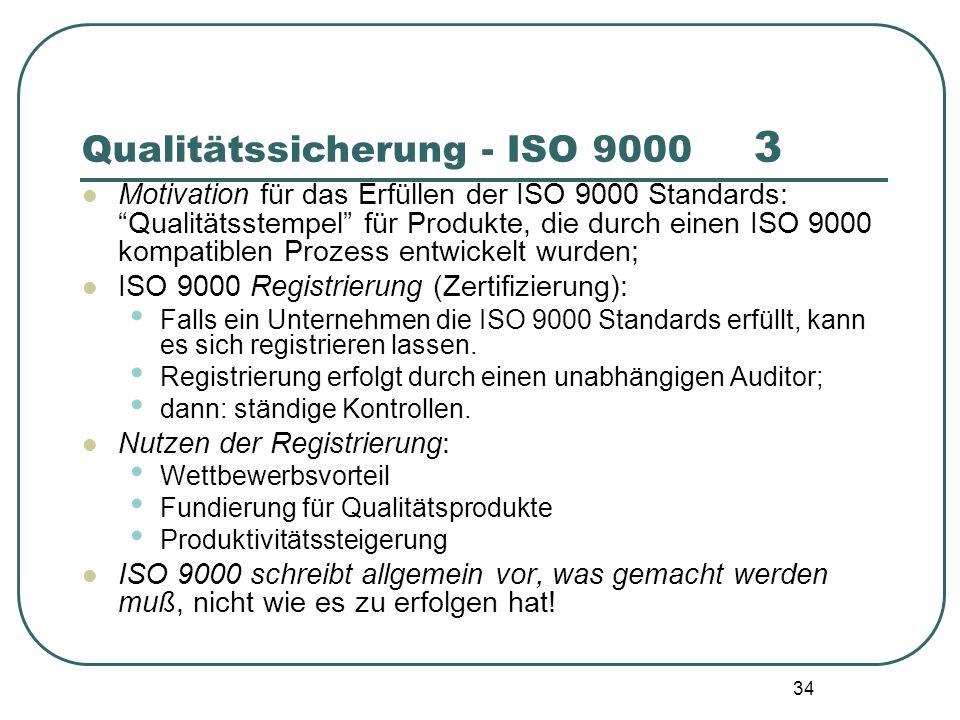 34 Motivation für das Erfüllen der ISO 9000 Standards: Qualitätsstempel für Produkte, die durch einen ISO 9000 kompatiblen Prozess entwickelt wurden;
