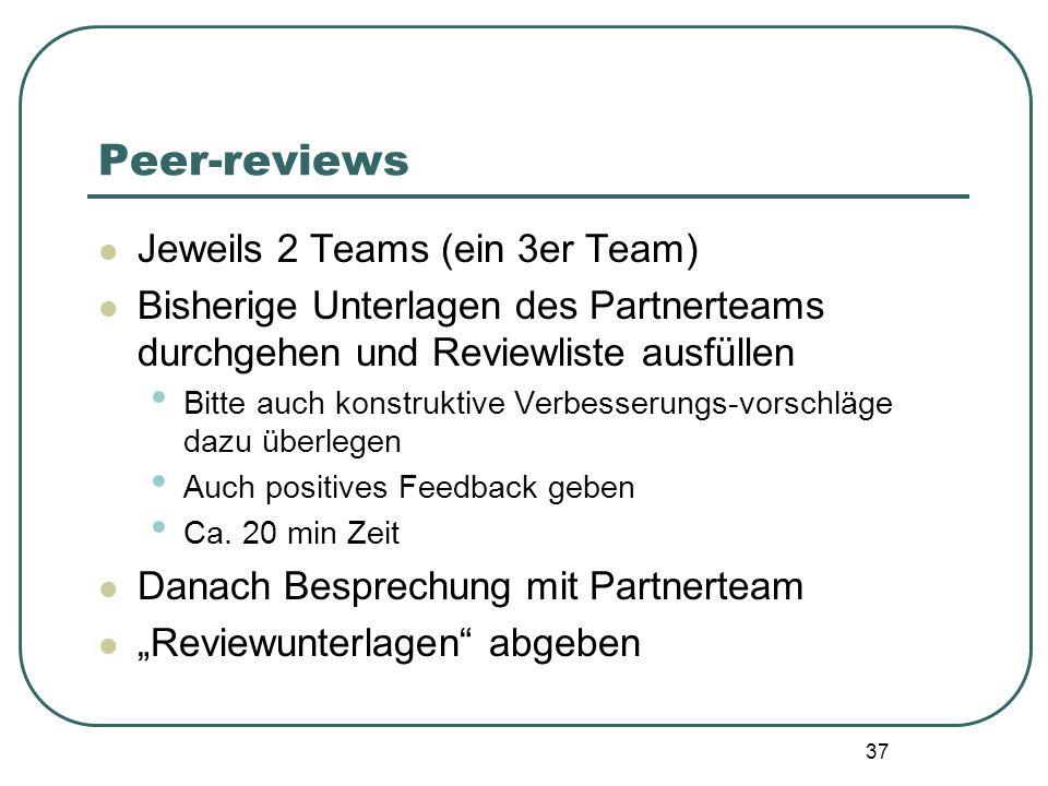 37 Peer-reviews Jeweils 2 Teams (ein 3er Team) Bisherige Unterlagen des Partnerteams durchgehen und Reviewliste ausfüllen Bitte auch konstruktive Verb