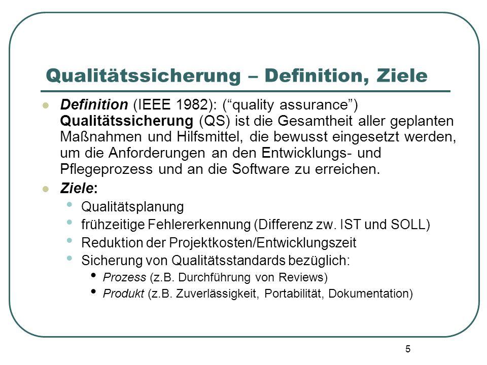 6 Qualitätssicherung – Organisation, QP Organisation der QS: innerhalb eines Unternehmens: unabhängiges QS-Team berichtet dem Management direkt über der Projektleitung ist für die QS aller Projekte im Unternehmen zuständig Qualitätsplan (QS-Plan): für spezielles Projekt geschrieben dient als Vorgabe für die QS wird während der Planungsphase erstellt enthält alle ausgewählten QS-Maßnahmen für ein IS-Projekt definiert die erforderlichen Qualitätseigenschaften des Produktes und die Anforderungen an den SW-Prozeß legt fest, wie Obiges überprüft/gemessen werden kann Zweck: Rechtzeitige Planung und Abstimmung der QS-Aktivitäten