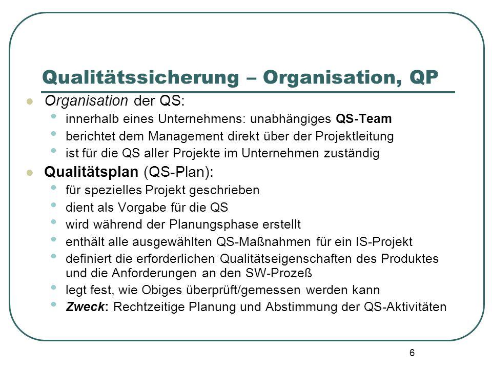 17 Qualitätssicherung - Kontrollverfahren Überblick2 Audit: Ein Audit ist eine Aktivität, bei der sowohl die Angemessenheit und Einhaltung vorgegebener Vorgehensweisen, Anweisungen und Standards als auch deren Wirksamkeit und Sinnhaftigkeit geprüft werden.