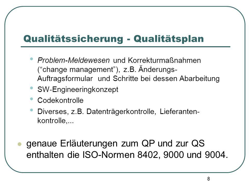 8 Qualitätssicherung - Qualitätsplan Problem-Meldewesen und Korrekturmaßnahmen (change management), z.B. Änderungs- Auftragsformular und Schritte bei