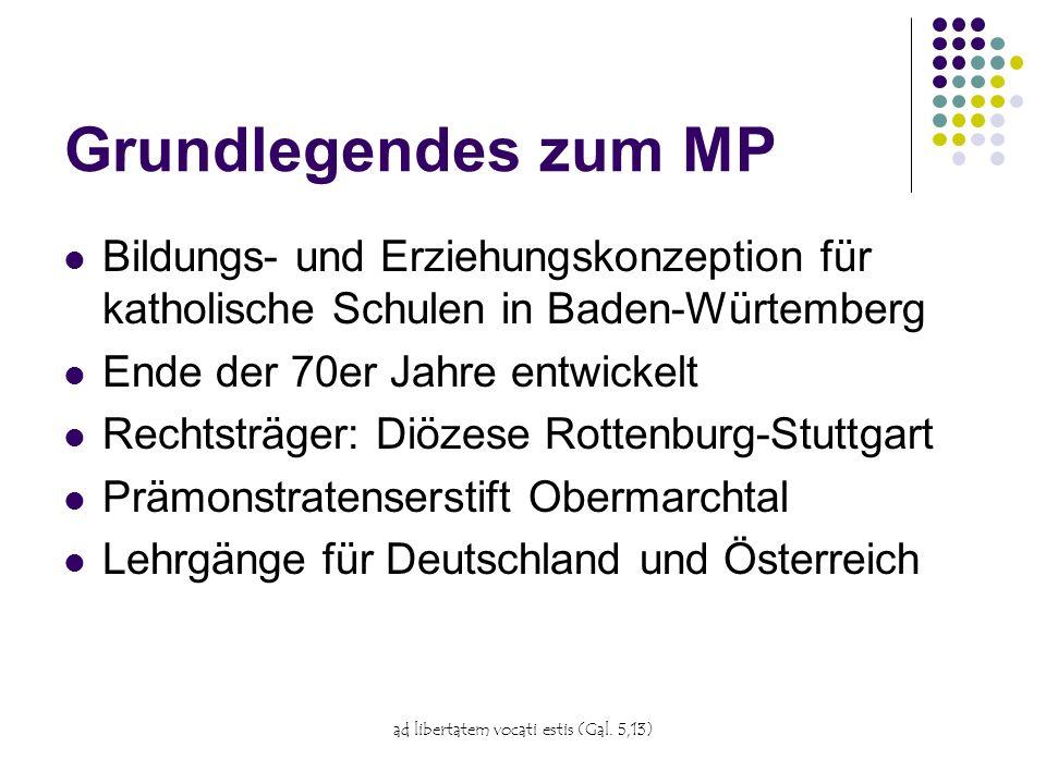 ad libertatem vocati estis (Gal. 5,13) Grundlegendes zum MP Bildungs- und Erziehungskonzeption für katholische Schulen in Baden-Würtemberg Ende der 70