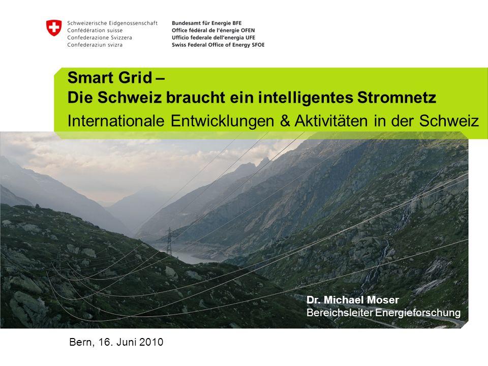 Smart Grid – Die Schweiz braucht ein intelligentes Stromnetz Internationale Entwicklungen & Aktivitäten in der Schweiz Bern, 16.