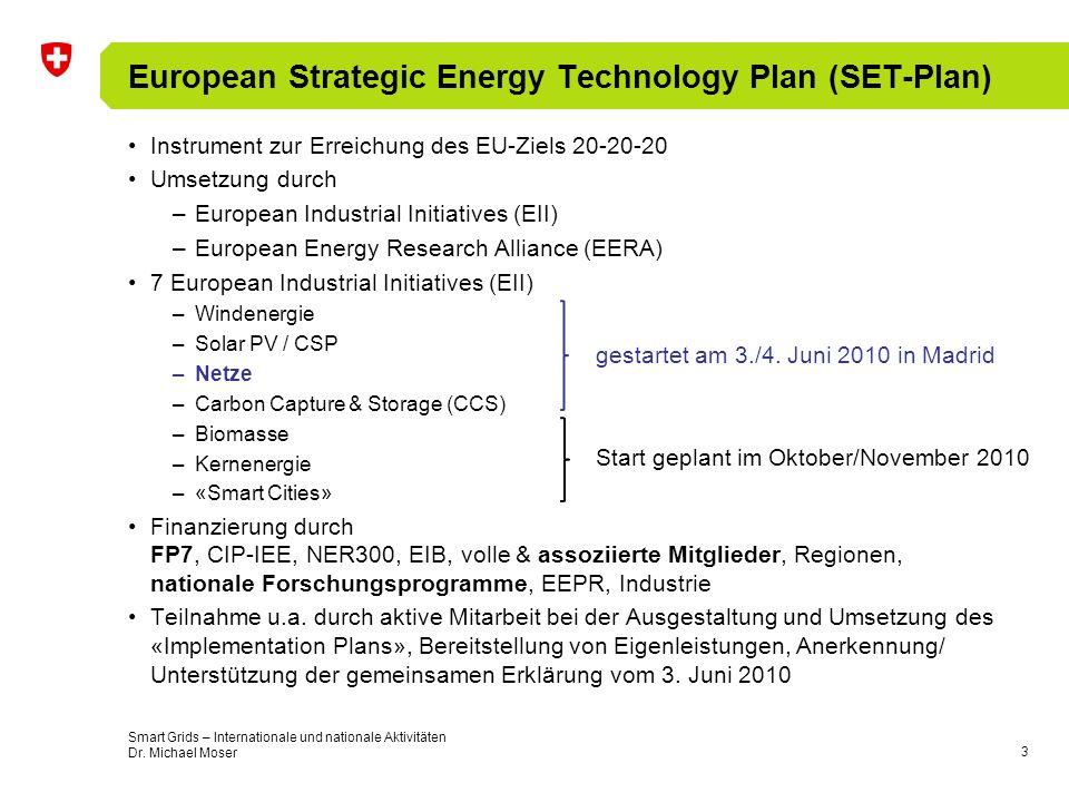 4 European Strategic Energy Technology Plan (SET-Plan) CH als Beobachter, de facto gleichberechtigt Smart Grids – Internationale und nationale Aktivitäten Dr.