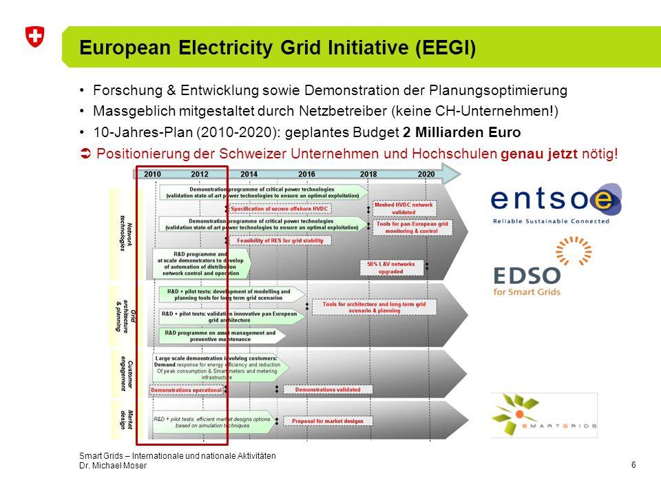 7 «Smart Grids» Aktivitäten in Europa E-Energy (Deutschland) –6 Pilotregionen zu «Smart Grids» + weitere 7 zur Integration der Elektromobilität (V2G) –Begleitforschung zur Vorbereitung einer flächendeckenden Resultatumsetzung –>120 Millionen Euro öffentliche Fördermittel + noch mehr Mittel aus der Industrie Cell Controler Project / Ecogrid / EDISON (Dänemark) –Pilotprojekt zur Analyse der Netzsteuerungshierarchie (dezentral zentral) –Versorgungsunabhängigkeit von Regionen (Wind, WKK, konventionell-thermisch, V2G) TELEGESTORE (Italien) –31 Millionen Smart Meters, Automatisierung von 100000 Unterstationen, optimiertes Asset Management, verbessertes Krisenmanagement –Unter den derzeit grössten «Smart Grids » Implementierungen der Welt Smart Grid Initiatives (Frankreich) –Pilotprojekte zur Erreichung der CO 2 -Ziele (Integration erneuerbarer Energien, DSM, etc.) –1% Smart Meters (Pilot) 35 Millionen Zähler mit echten «Smart Grids» Funktionen Amsterdam Smart City (Niederlande) –Nachhaltiges Wohnen, Arbeiten, nachhaltige Verwaltung, nachhaltiger Verkehr –20 Demoprojekte zur effizienten Integration von «Smart Grids» Technologien in Städten + viele kleinere nationale und internationale Projekte und Stakeholder-Plattformen inkl.