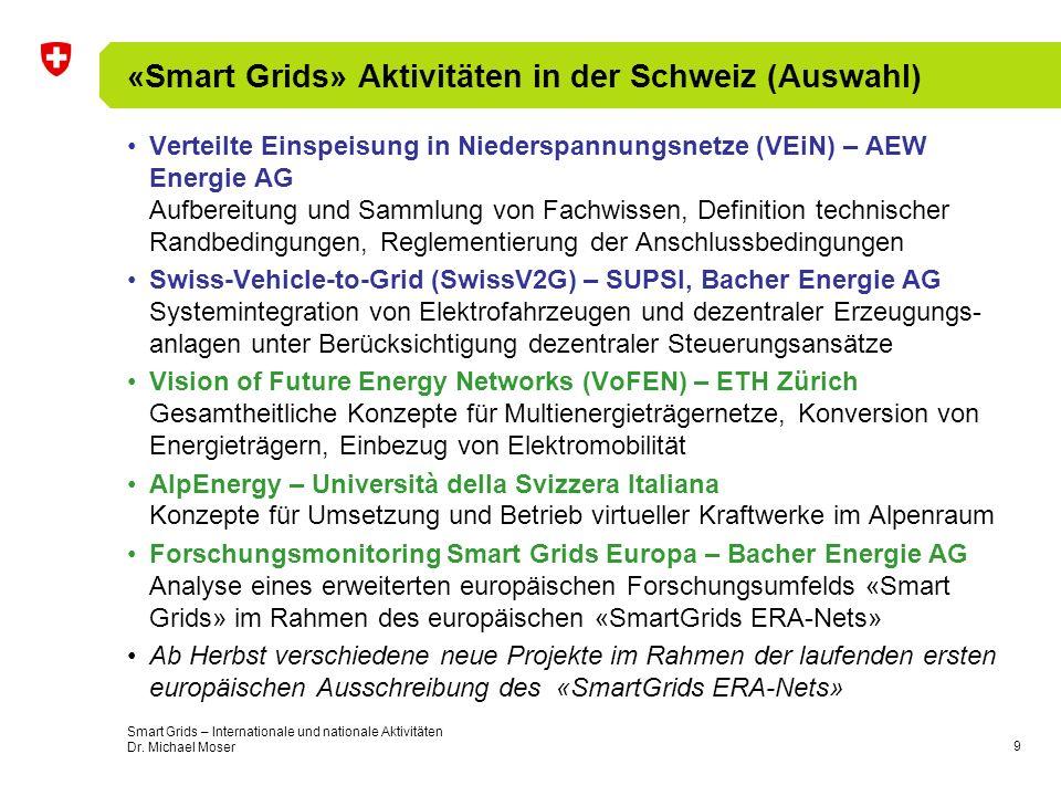 9 «Smart Grids» Aktivitäten in der Schweiz (Auswahl) Verteilte Einspeisung in Niederspannungsnetze (VEiN) – AEW Energie AG Aufbereitung und Sammlung von Fachwissen, Definition technischer Randbedingungen, Reglementierung der Anschlussbedingungen Swiss-Vehicle-to-Grid (SwissV2G) – SUPSI, Bacher Energie AG Systemintegration von Elektrofahrzeugen und dezentraler Erzeugungs- anlagen unter Berücksichtigung dezentraler Steuerungsansätze Vision of Future Energy Networks (VoFEN) – ETH Zürich Gesamtheitliche Konzepte für Multienergieträgernetze, Konversion von Energieträgern, Einbezug von Elektromobilität AlpEnergy – Università della Svizzera Italiana Konzepte für Umsetzung und Betrieb virtueller Kraftwerke im Alpenraum Forschungsmonitoring Smart Grids Europa – Bacher Energie AG Analyse eines erweiterten europäischen Forschungsumfelds «Smart Grids» im Rahmen des europäischen «SmartGrids ERA-Nets» Ab Herbst verschiedene neue Projekte im Rahmen der laufenden ersten europäischen Ausschreibung des «SmartGrids ERA-Nets» Smart Grids – Internationale und nationale Aktivitäten Dr.