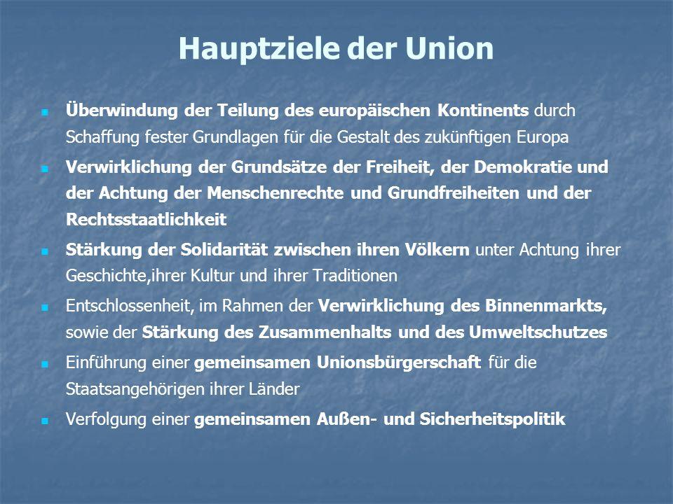 Hauptziele der Union Überwindung der Teilung des europäischen Kontinents durch Schaffung fester Grundlagen für die Gestalt des zukünftigen Europa Verw