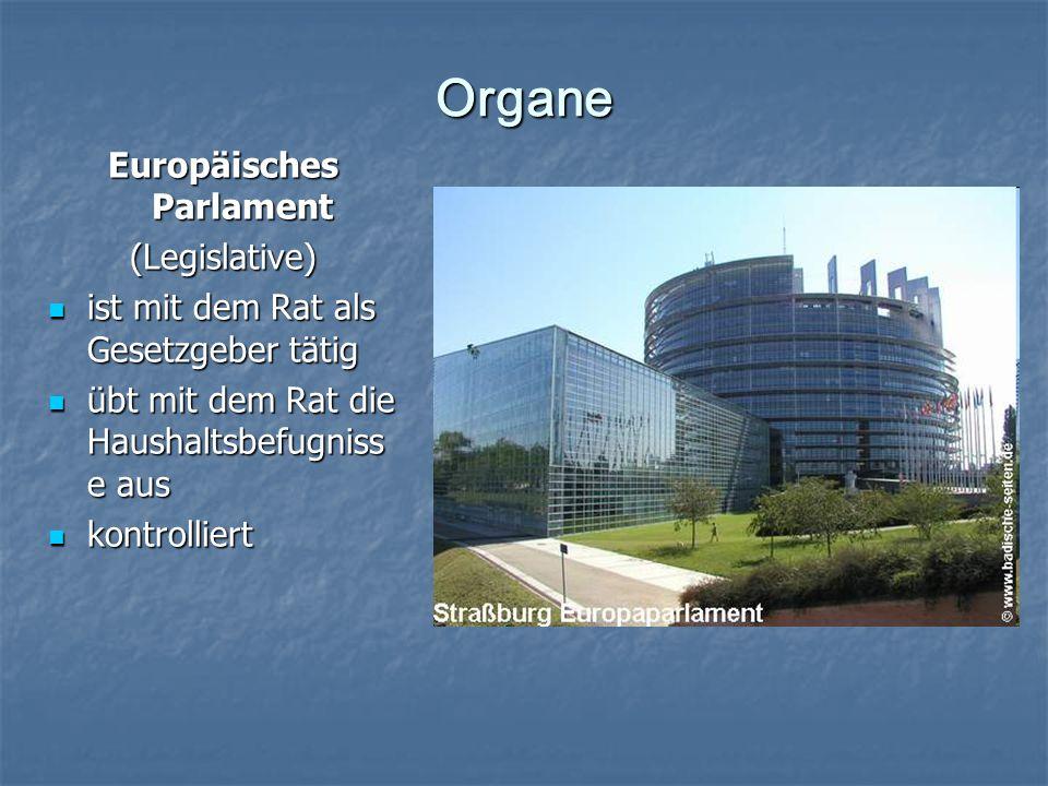 Organe Europäisches Parlament (Legislative) ist mit dem Rat als Gesetzgeber tätig ist mit dem Rat als Gesetzgeber tätig übt mit dem Rat die Haushaltsbefugniss e aus übt mit dem Rat die Haushaltsbefugniss e aus kontrolliert kontrolliert