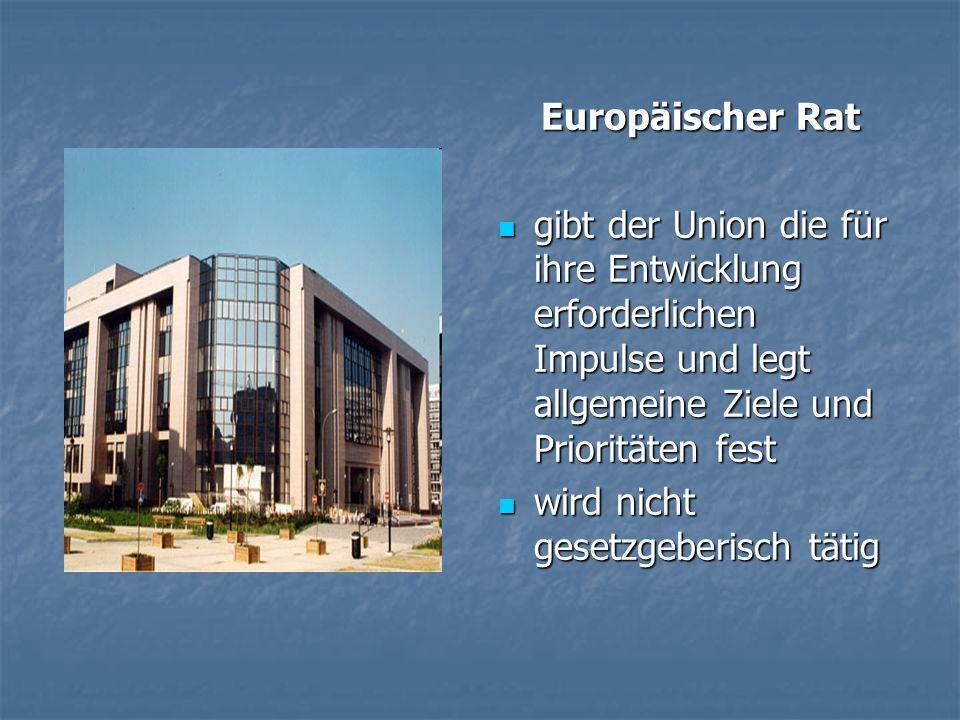 Europäischer Rat gibt der Union die für ihre Entwicklung erforderlichen Impulse und legt allgemeine Ziele und Prioritäten fest gibt der Union die für ihre Entwicklung erforderlichen Impulse und legt allgemeine Ziele und Prioritäten fest wird nicht gesetzgeberisch tätig wird nicht gesetzgeberisch tätig