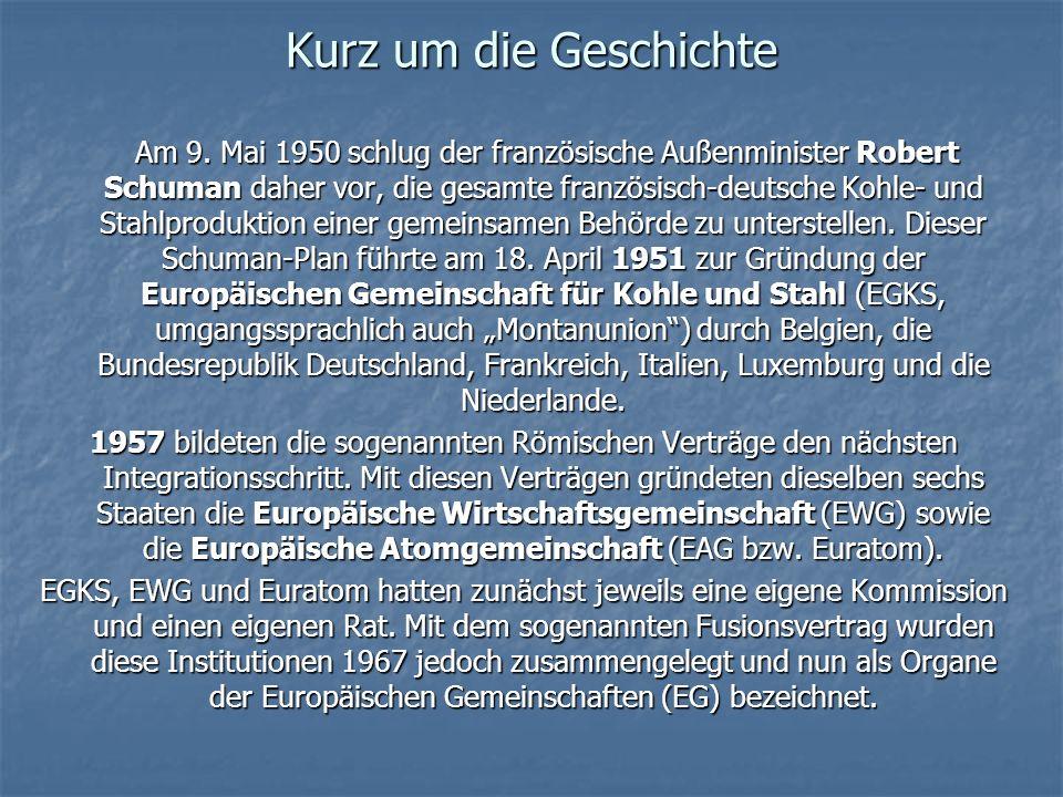 Kurz um die Geschichte Am 9. Mai 1950 schlug der französische Außenminister Robert Schuman daher vor, die gesamte französisch-deutsche Kohle- und Stah