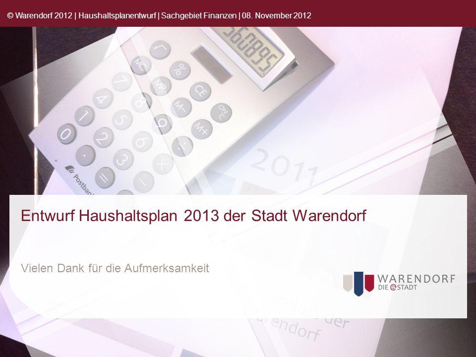 Entwurf Haushaltsplan 2013 der Stadt Warendorf Vielen Dank für die Aufmerksamkeit © Warendorf 2012 | Haushaltsplanentwurf | Sachgebiet Finanzen | 08.