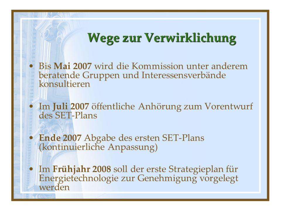 Wege zur Verwirklichung Bis Mai 2007 wird die Kommission unter anderem beratende Gruppen und Interessensverbände konsultieren Im Juli 2007 öffentliche