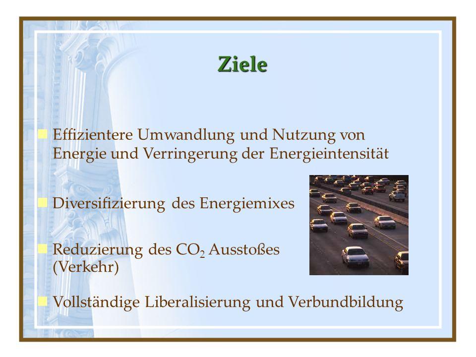 Ziele Effizientere Umwandlung und Nutzung von Energie und Verringerung der Energieintensität Diversifizierung des Energiemixes Reduzierung des CO 2 Au
