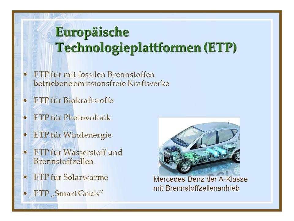 Europäische Technologieplattformen (ETP) ETP für mit fossilen Brennstoffen betriebene emissionsfreie Kraftwerke ETP für Biokraftstoffe ETP für Photovo