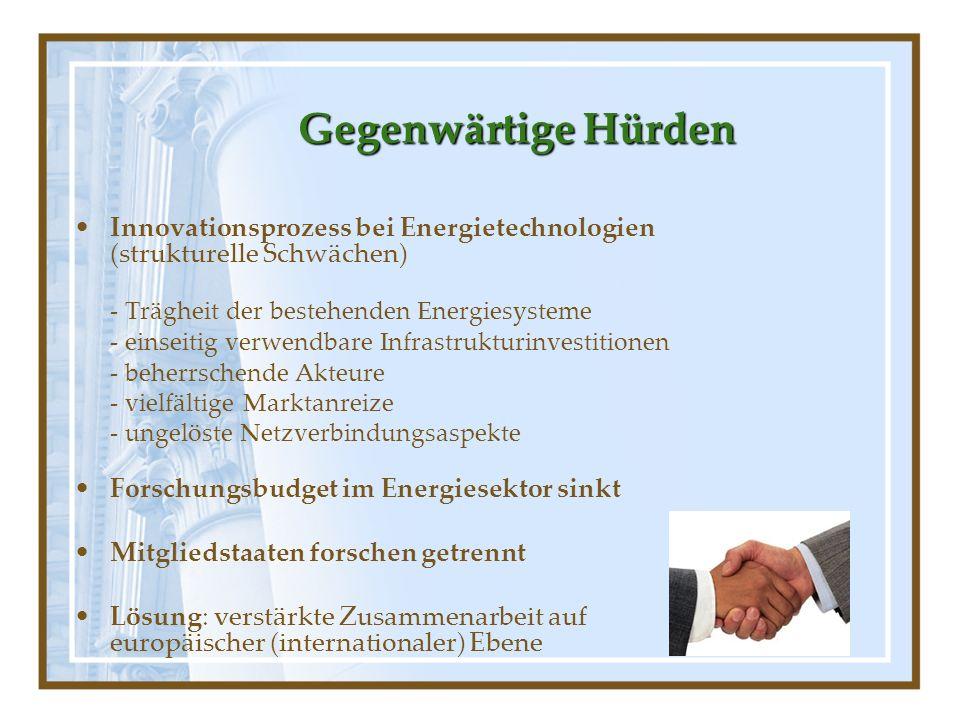 GegenwärtigeHürden Gegenwärtige Hürden Innovationsprozess bei Energietechnologien (strukturelle Schwächen) - Trägheit der bestehenden Energiesysteme -